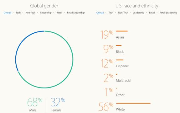 Gráfico de diversidade em 2016