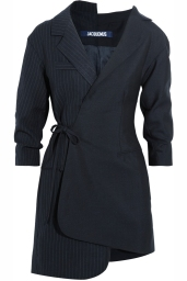 EXCLUSIVE LA ROBE DEUX VESTES Patchwork dress of two suits, one side in plain cool wool and the other in striped Navy, 100% WO, 54% AC 46% PL