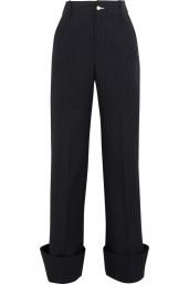 EXCLUSIVE LE PANTALON Navy striped high waisted men's suit trousers, 100% WO