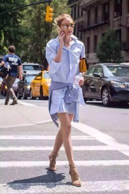 Olivia Palermo usou a chemise com uma camisa xadrez amarrada na cintura – ideia nada óbvia, e que deixa a produção muito cool!