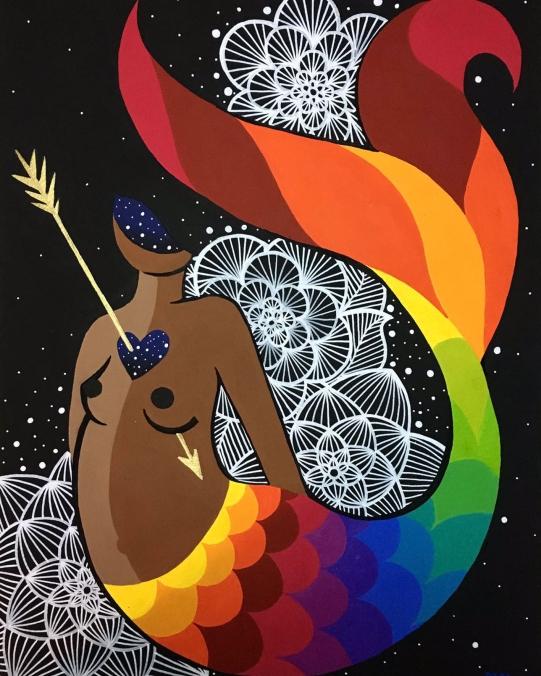 Gravura Haja Luz da artista Rafa Mon no Espaço Quadrado