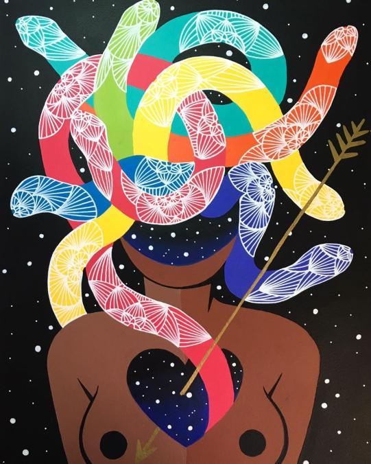 Gravura Veneno da artista Rafa Mon no Espaço Quadrado