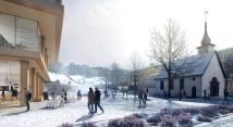 Novas edificações da universidade formam uma moldura espacial, onde o parque é o elemento unificador e a praça é enriquecida com pequenas intervenções de paisagismo e facilita atividades comerciais externas.. (Ilustração por Beauty and the Bit). Image Cortesia de KOHT Arkitekter