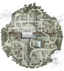 Masterplan desenvolvido por Duda Porto mostra a condensação de funções (moradia, convívio, lazer, produção agrícola), tudo envolto por um cinturão verde