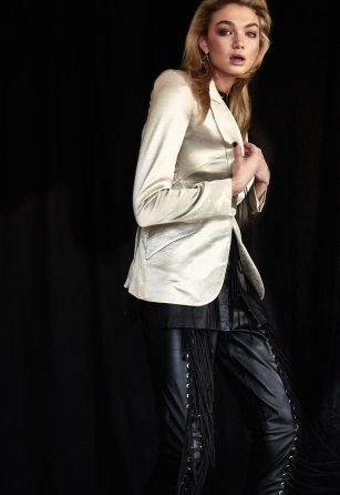 L'agence Jacket available at Edwards Imports Jacinta James Leather Top and Pants By G earrings