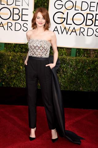 Emma Stone deixou o vestido de lado para optar por um look da Lanvin em 2015