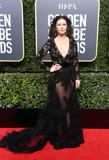 BEVERLY HILLS, CA - JANUARY 07: Actor Catherine Zeta-Jones attends The 75th Annual Golden Globe Awards at The Beverly Hilton Hotel on January 7, 2018 in Beverly Hills, California. (Photo by Frazer Harrison/Getty Images)