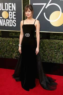 BEVERLY HILLS, CA - JANUARY 07: Dakota Johnson attends The 75th Annual Golden Globe Awards at The Beverly Hilton Hotel on January 7, 2018 in Beverly Hills, California. (Photo by Frederick M. Brown/Getty Images)
