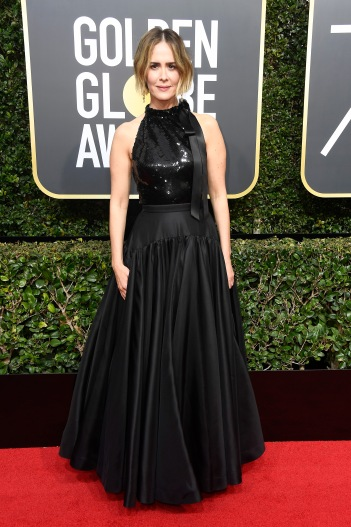 BEVERLY HILLS, CA - JANUARY 07: Actor Sarah Paulson attends The 75th Annual Golden Globe Awards at The Beverly Hilton Hotel on January 7, 2018 in Beverly Hills, California. (Photo by Frazer Harrison/Getty Images)