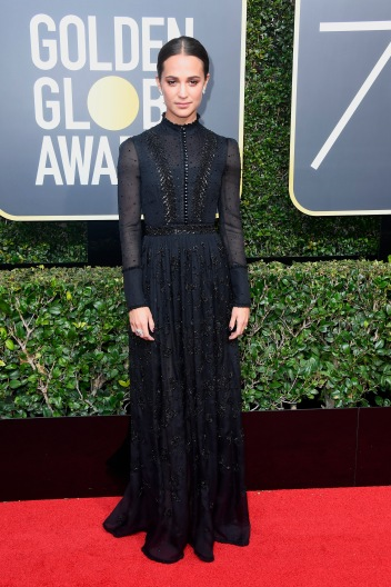 BEVERLY HILLS, CA - JANUARY 07: Alicia Vikander attends The 75th Annual Golden Globe Awards at The Beverly Hilton Hotel on January 7, 2018 in Beverly Hills, California. (Photo by Frazer Harrison/Getty Images)