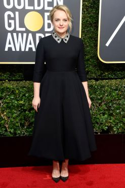 BEVERLY HILLS, CA - JANUARY 07: Elizabeth Moss attends The 75th Annual Golden Globe Awards at The Beverly Hilton Hotel on January 7, 2018 in Beverly Hills, California. (Photo by Frazer Harrison/Getty Images)
