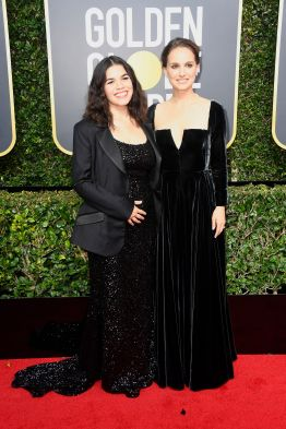 BEVERLY HILLS, CA - JANUARY 07: America Ferrera and Natalie Portman attends The 75th Annual Golden Globe Awards at The Beverly Hilton Hotel on January 7, 2018 in Beverly Hills, California. (Photo by Frazer Harrison/Getty Images)