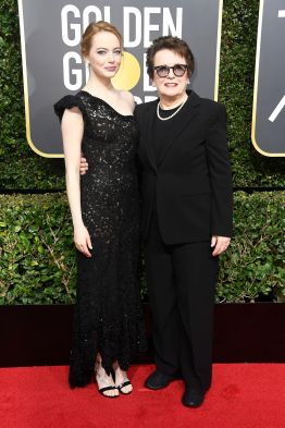 BEVERLY HILLS, CA - JANUARY 07: Actor Emma Stone (L) and former tennis player Billie Jean King attend The 75th Annual Golden Globe Awards at The Beverly Hilton Hotel on January 7, 2018 in Beverly Hills, California. (Photo by Frazer Harrison/Getty Images)