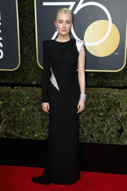 BEVERLY HILLS, CA - JANUARY 07: Saoirse Ronan attends The 75th Annual Golden Globe Awards at The Beverly Hilton Hotel on January 7, 2018 in Beverly Hills, California. (Photo by Frederick M. Brown/Getty Images)