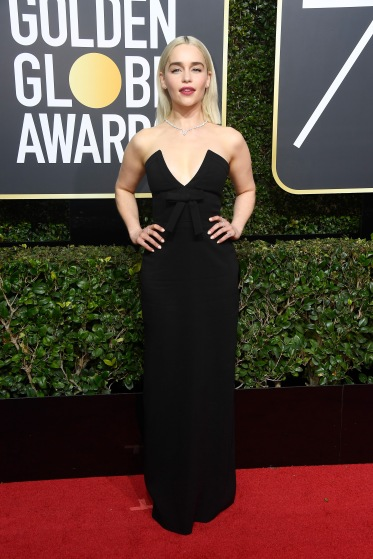 BEVERLY HILLS, CA - JANUARY 07: Actor Emilia Clarke attends The 75th Annual Golden Globe Awards at The Beverly Hilton Hotel on January 7, 2018 in Beverly Hills, California. (Photo by Frazer Harrison/Getty Images)