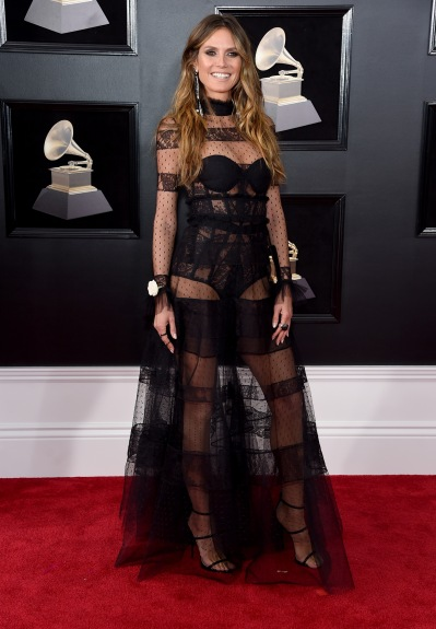 NEW YORK, NY - JANUARY 28: TV personality-model Heidi Klum attends the 60th Annual GRAMMY Awards at Madison Square Garden on January 28, 2018 in New York City. (Photo by Jamie McCarthy/Getty Images)