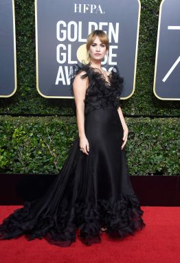 BEVERLY HILLS, CA - JANUARY 07: Actor Lily James attends The 75th Annual Golden Globe Awards at The Beverly Hilton Hotel on January 7, 2018 in Beverly Hills, California. (Photo by Frazer Harrison/Getty Images)