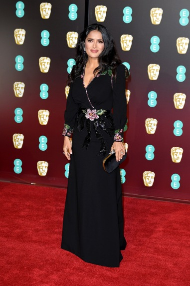 LONDON, ENGLAND - FEBRUARY 18: Actress Salma Hayek attends the EE British Academy Film Awards (BAFTA) held at Royal Albert Hall on February 18, 2018 in London, England. (Photo by Jeff Spicer/Jeff Spicer/Getty Images)