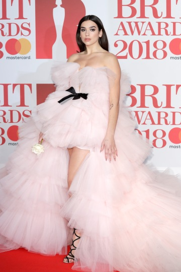 LONDON, ENGLAND - FEBRUARY 21: *** EDITORIAL USE ONLY IN RELATION TO THE BRIT AWARDS 2018*** Singer Dua Lipa attends The BRIT Awards 2018 held at The O2 Arena on February 21, 2018 in London, England. (Photo by John Phillips/Getty Images)