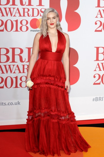 LONDON, ENGLAND - FEBRUARY 21: *** EDITORIAL USE ONLY IN RELATION TO THE BRIT AWARDS 2018*** Anne Marie attends The BRIT Awards 2018 held at The O2 Arena on February 21, 2018 in London, England. (Photo by John Phillips/Getty Images)