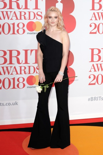 LONDON, ENGLAND - FEBRUARY 21: *** EDITORIAL USE ONLY IN RELATION TO THE BRIT AWARDS 2018*** Grace Chatto of Clean Bandit attends The BRIT Awards 2018 held at The O2 Arena on February 21, 2018 in London, England. (Photo by John Phillips/Getty Images)