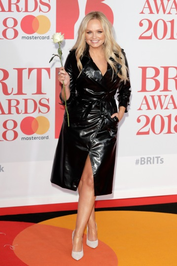 LONDON, ENGLAND - FEBRUARY 21: *** EDITORIAL USE ONLY IN RELATION TO THE BRIT AWARDS 2018*** Emma Bunton attends The BRIT Awards 2018 held at The O2 Arena on February 21, 2018 in London, England. (Photo by John Phillips/Getty Images)