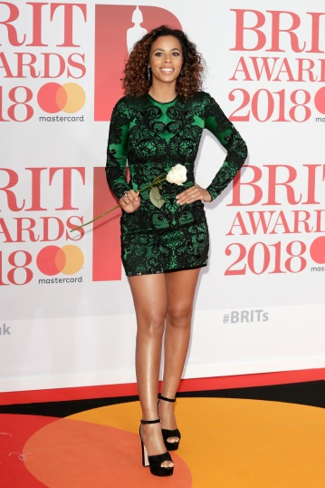 LONDON, ENGLAND - FEBRUARY 21: *** EDITORIAL USE ONLY IN RELATION TO THE BRIT AWARDS 2018*** Rochelle Humes attends The BRIT Awards 2018 held at The O2 Arena on February 21, 2018 in London, England. (Photo by John Phillips/Getty Images)