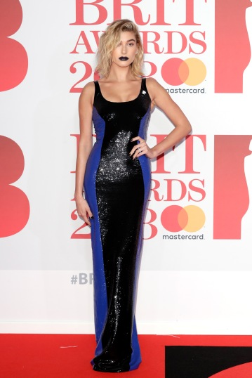 LONDON, ENGLAND - FEBRUARY 21: *** EDITORIAL USE ONLY IN RELATION TO THE BRIT AWARDS 2018*** Hailey Baldwin attends The BRIT Awards 2018 held at The O2 Arena on February 21, 2018 in London, England. (Photo by John Phillips/Getty Images)