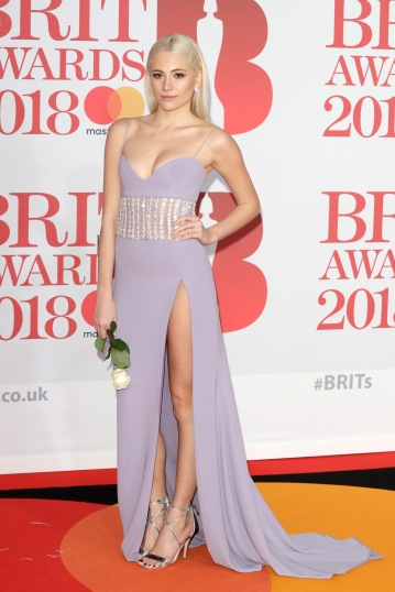 LONDON, ENGLAND - FEBRUARY 21: *** EDITORIAL USE ONLY IN RELATION TO THE BRIT AWARDS 2018*** Pixe Lott attends The BRIT Awards 2018 held at The O2 Arena on February 21, 2018 in London, England. (Photo by John Phillips/Getty Images)