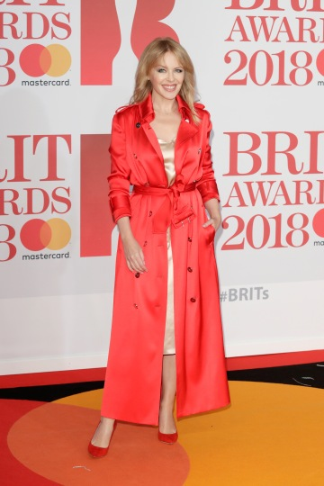 LONDON, ENGLAND - FEBRUARY 21: *** EDITORIAL USE ONLY IN RELATION TO THE BRIT AWARDS 2018*** Kylie Minogue attends The BRIT Awards 2018 held at The O2 Arena on February 21, 2018 in London, England. (Photo by John Phillips/Getty Images)