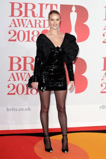 LONDON, ENGLAND - FEBRUARY 21: *** EDITORIAL USE ONLY IN RELATION TO THE BRIT AWARDS 2018*** Rosie Huntington-Whiteley attends The BRIT Awards 2018 held at The O2 Arena on February 21, 2018 in London, England. (Photo by John Phillips/Getty Images)