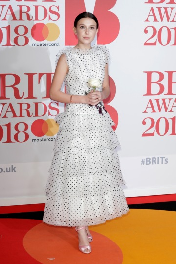 LONDON, ENGLAND - FEBRUARY 21: *** EDITORIAL USE ONLY IN RELATION TO THE BRIT AWARDS 2018*** Millie Bobby Brown attends The BRIT Awards 2018 held at The O2 Arena on February 21, 2018 in London, England. (Photo by John Phillips/Getty Images)