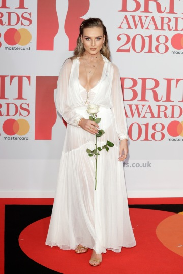 LONDON, ENGLAND - FEBRUARY 21: *** EDITORIAL USE ONLY IN RELATION TO THE BRIT AWARDS 2018*** Perrie Edwards of Little Mix attends The BRIT Awards 2018 held at The O2 Arena on February 21, 2018 in London, England. (Photo by John Phillips/Getty Images)