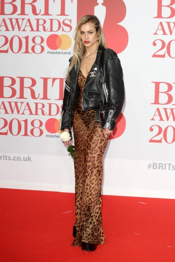LONDON, ENGLAND - FEBRUARY 21: *** EDITORIAL USE ONLY IN RELATION TO THE BRIT AWARDS 2018*** Alice Dellal attends The BRIT Awards 2018 held at The O2 Arena on February 21, 2018 in London, England. (Photo by John Phillips/Getty Images)