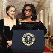 Montagem feita com Natalie Portman e Oprah logo ap—s o Globo de Ouro 2018