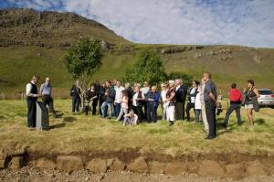 Some of the estimated 780 living descendants of Hans Jonathan, an escaped slave, attend a commemoration at his burial site in Iceland.