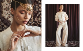 Left: Blouse, Steinrohner. Headpiece, Perlensäue. Right: Top and Pants, Marina Hoermanseder. Corsage, Prada. Headpiece, Perlensäue. Shoes, Michael Sontag x Trippen.