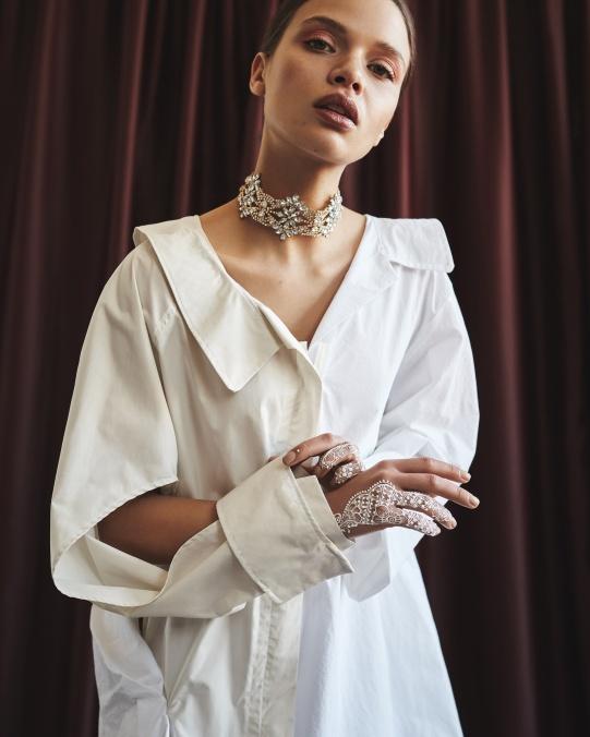 Dress, Vladimir Karaleev. Necklace, Sweet Deluxe.