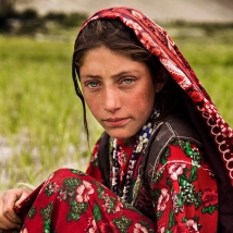 A girl working in the fields of the Wakhan Corridor in Afghanistan.