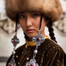A woman in traditional dress in Bishkek, Kyrgyzstan.