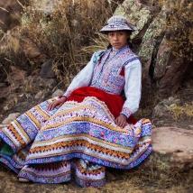 A woman in Preu's Colca Valley dressed in traditional clothing.