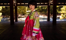 A woman dressed in traditional clothing in Kaesong, North Korea.