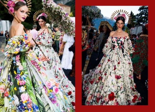 Sombrinha de flores (reais) e vestido com flores (estampadas)!
