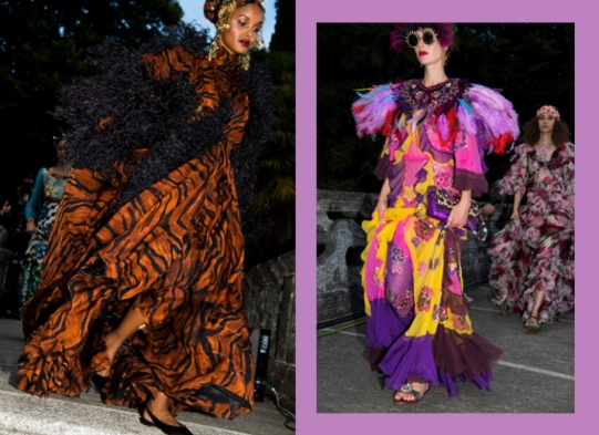Qual look você prefere: animal print (esq.) ou com ombreira de plumas coloridas (dir.)?