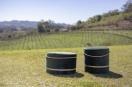 Pufes assinados pela designer Marta Manente; vista da vinícola pode ser apreciada por visitantes. Foto: Rodinaldo Severo Goulart