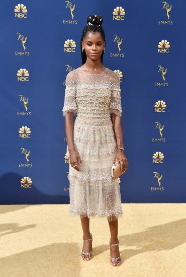 LOS ANGELES, CA - SEPTEMBER 17: Letitia Wright attends the 70th Emmy Awards at Microsoft Theater on September 17, 2018 in Los Angeles, California. (Photo by Frazer Harrison/Getty Images)