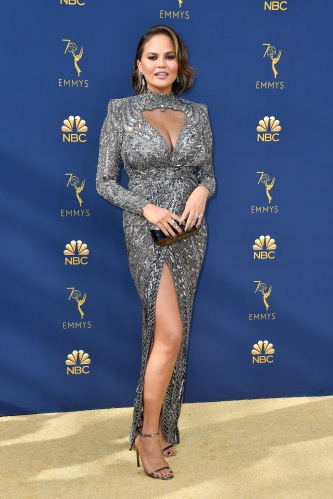 LOS ANGELES, CA - SEPTEMBER 17: Chrissy Teigen attends the 70th Emmy Awards at Microsoft Theater on September 17, 2018 in Los Angeles, California. (Photo by Frazer Harrison/Getty Images)