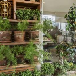 No projeto da arquiteta Paula Zelazo, o espaço para a hortinha é garantido com o uso de um armário e vasos que combinam com a paleta de cores escolhida Foto: Foto: Zeca Wittner